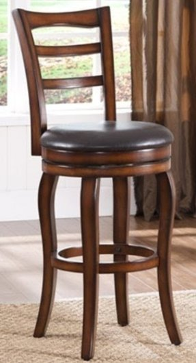 Roundhill Bar Height Solid Wood Swivel Bar Stools with Back, 29-Inch, Cherry, Set of 2