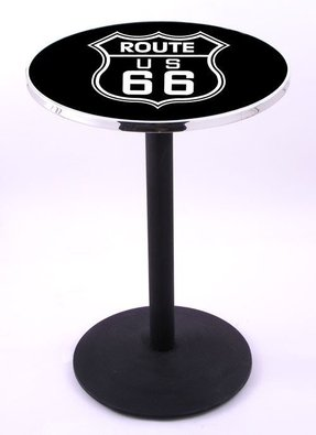 "Route 66 (L214) 36"" Tall Logo Pub Table by Holland Bar Stool Company (with Black Wrinkle Base and 28"" Table Top Diameter)"