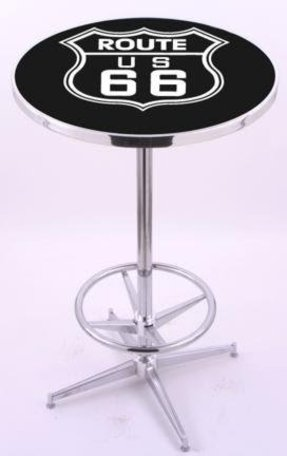 "Route 66 (L216) 42"" Tall Logo Pub Table by Holland Bar Stool Company (with Chrome Base and 28"" Table Top Diameter)"