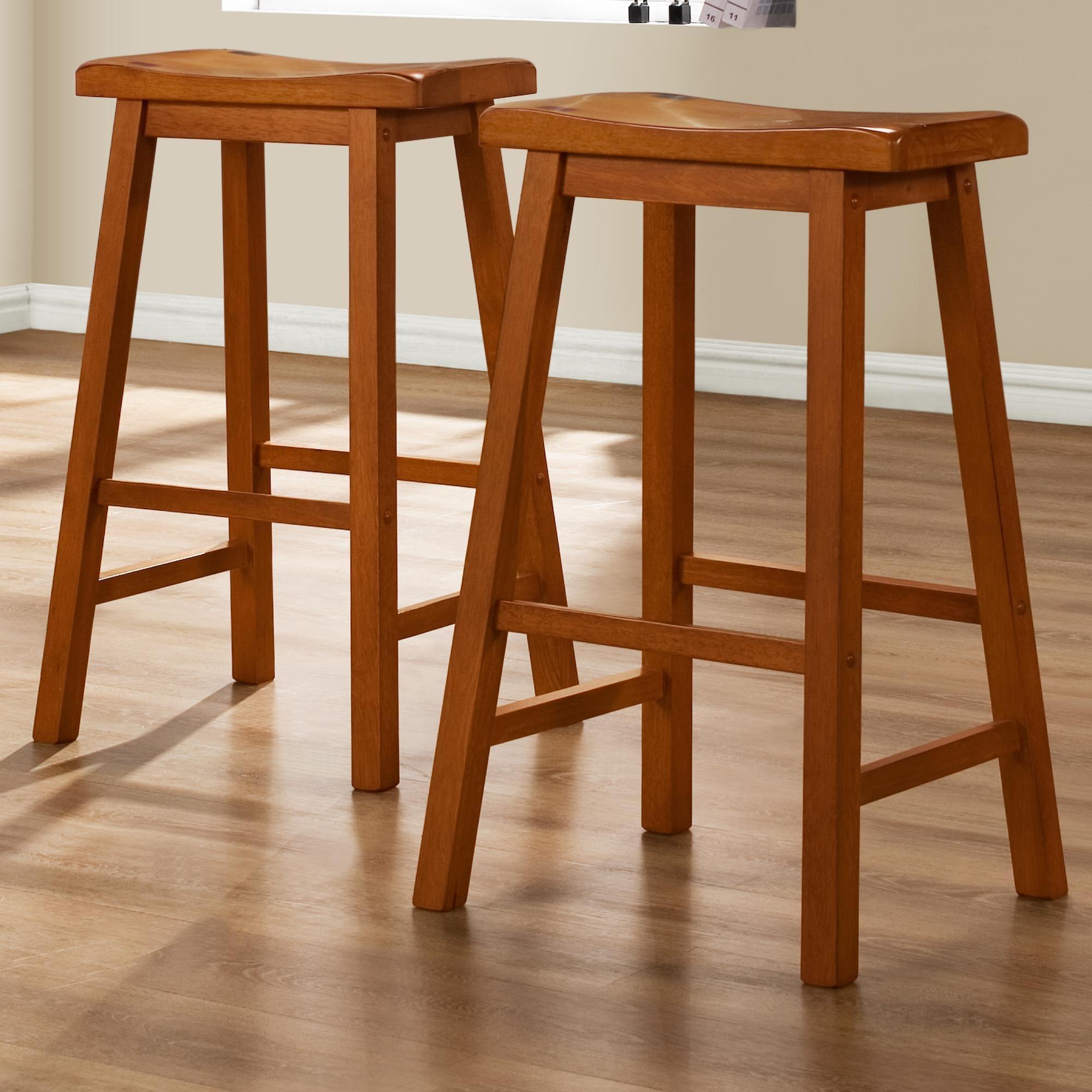Saddle Seat Counter Bar Stools Oak 29 Inch Kitchen Island Set Of 2