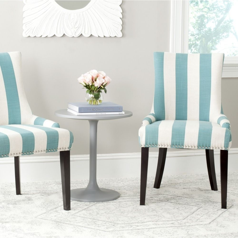 Charmant Safavieh Mercer Collection Lester Dining Chair, Aqua Blue And White Stripe,  Set Of 2