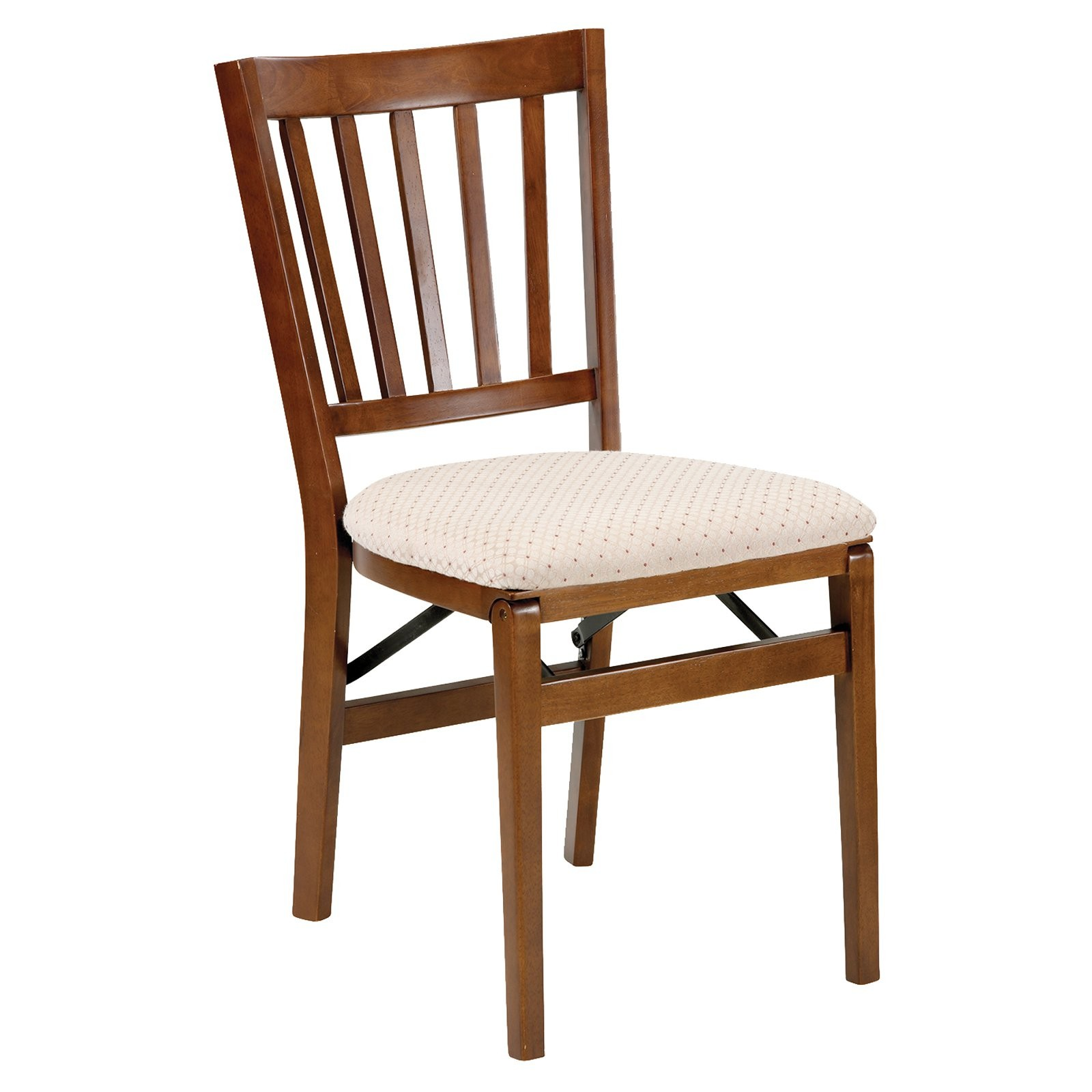 Schoolhouse Wood Folding Chair With Upholstered Seat (Set Of 2) Finish:  Fruitwood