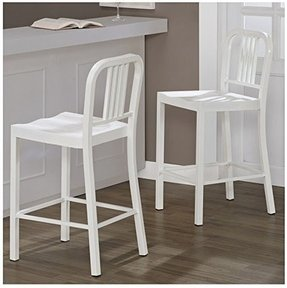 Set Of 2 White Navy Style Metal Counter Stools In Glossy Powder Coated Finish