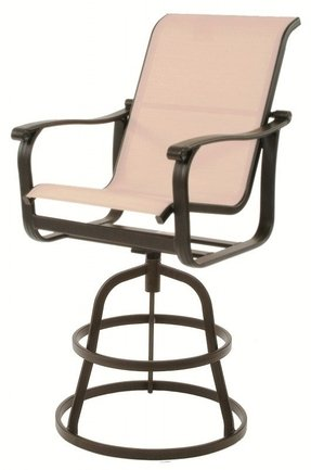 Suncoast Santa Rosa Sling Cast Aluminum Arm Swivel Patio Bar Stool