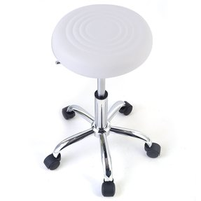 White Metal Roller Swivel Kitchen Chair