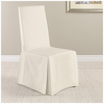 Sure Fit Twill Supreme Full Length Dining Room Chair Cover, White