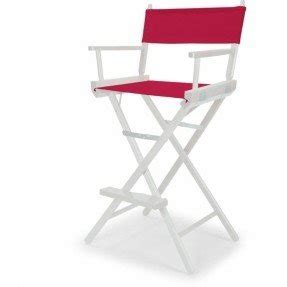 Telescope Casual Heritage Bar Height Director Chair, White Finish With  Marine Red And White Motif
