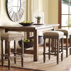These Rustic Distressed Renate Linen Backless Counter Bar Stools Add Extra Seating with Style to Your Kitchen or Dining or Room. A Great Vintage Addition to Any Room in the House, This Set Is Constructed of Solid Wood with a Handcrafted Reclaimed Wood Fin