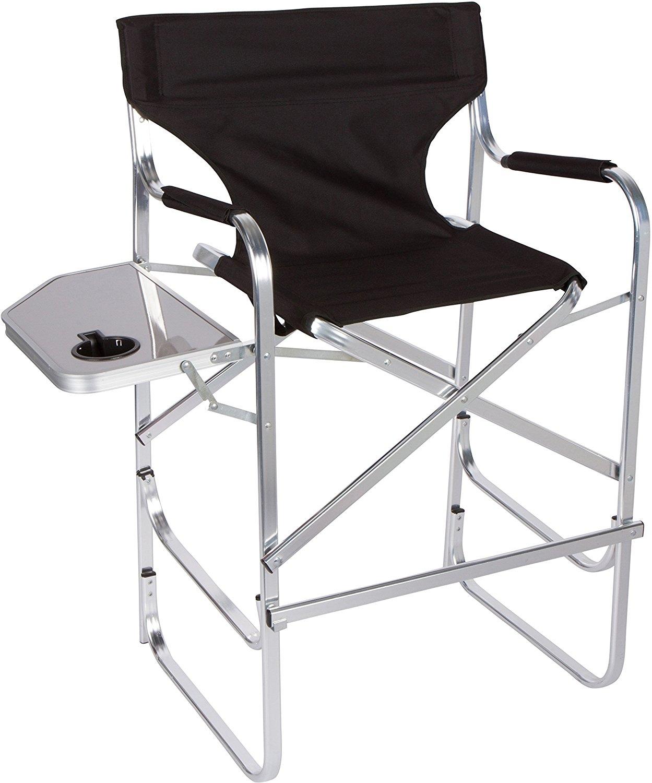 Trademark Innovations Lightweight and Durable Aluminum Folding Tall Directors Chair