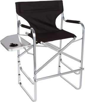 Trademark Innovations Light Weight Aluminum Folding Tall Director's Chair with Side Table