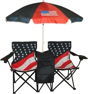 VMI Folding Chair with US Flag Print, Twin