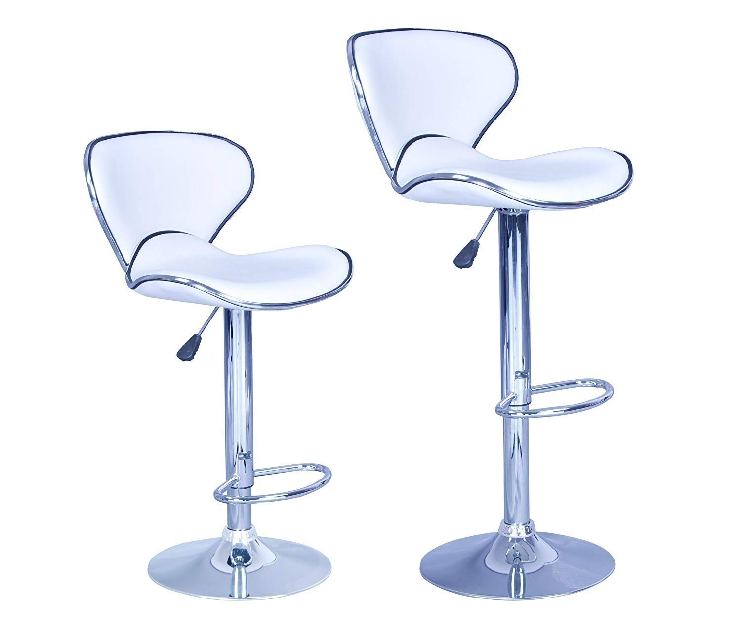 White Modern Adjustable Synthetic Leather Swivel Bar Stools Chairs B03 Sets  Of 2