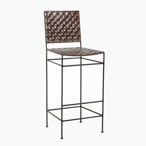 William Sheppee Saddler Iron and Woven Leather Barstool