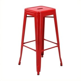 Work Smart / OSP Designs Steel Backless Barstool, 30-Inch, Red, 2-Pack