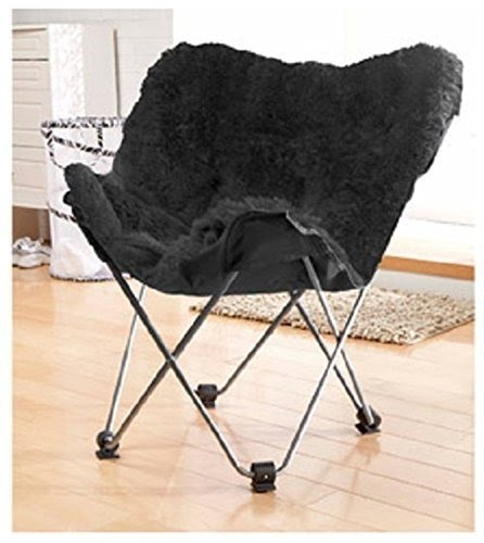 Your Zone Lux Shag Butterfly Black Chair, Folding, Soft