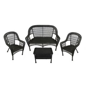 4 Piece Black Resin Wicker Patio Furniture Set Loveseat 2 Chairs Table