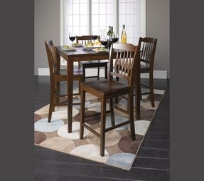 5 PC Cappuccino Finish Wood Counter Height Dining Set , 1 Table w/ 4 stools