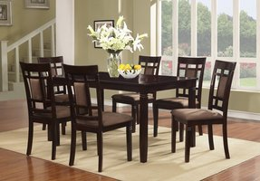 7 Pc Brand New Cherry Finish Solid Wood Dining Table Set, Table and 6 Chairs