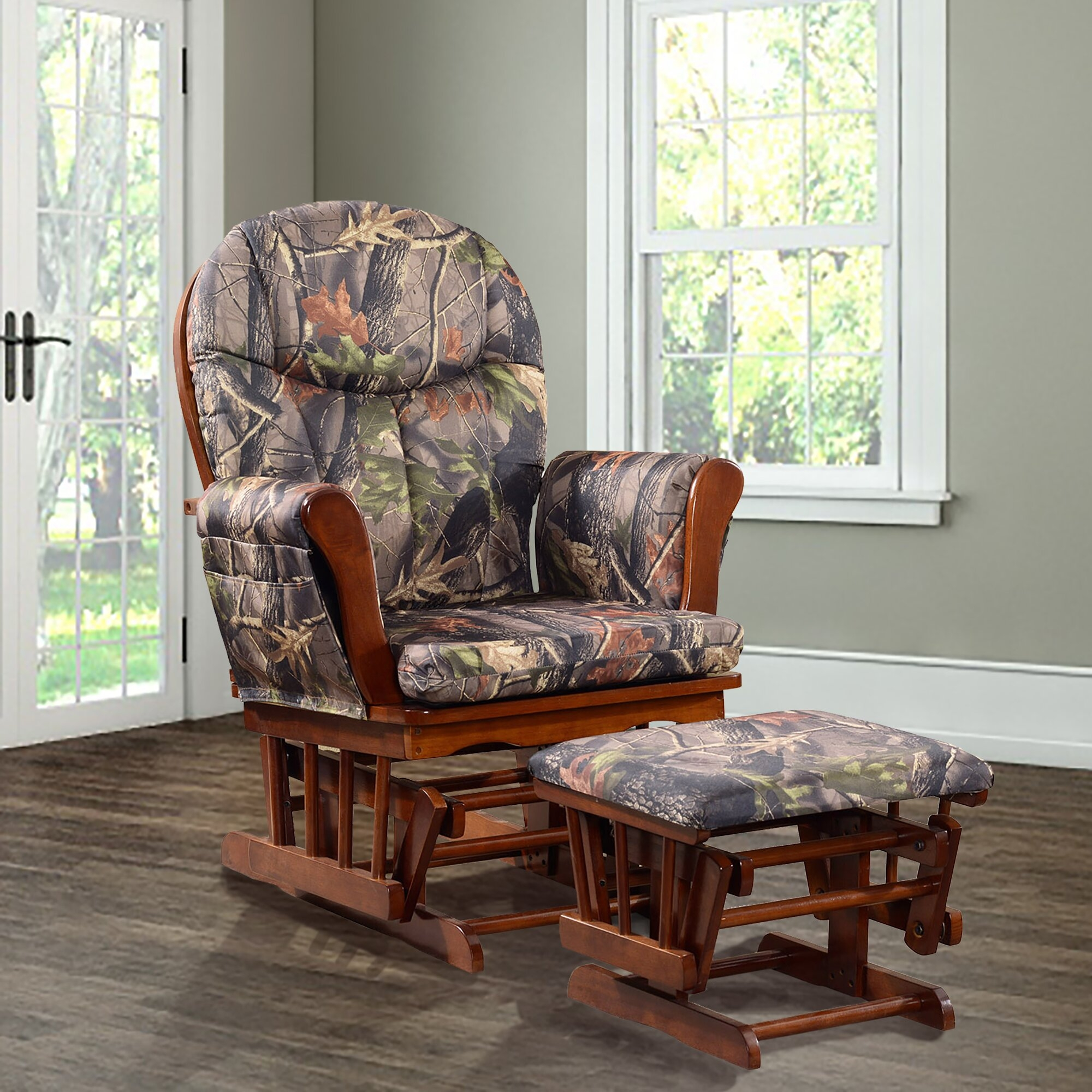 Artiva USA Home Deluxe Camouflage Microfiber Cushion Cherry Wood Glider  Chair And Ottoman Set