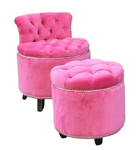 Beautiful pink armchair and stool