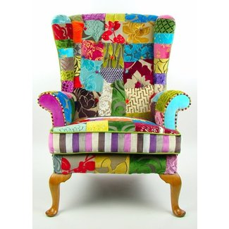 Bespoke patchwork wing back armchair in 1