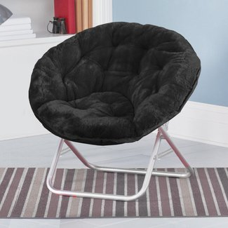 Black Faux Fur Saucer Chair Features Sturdy, Aluminum Construction & Soft Faux Fur Upholstery. Folds Up Easily To Store. Lounge, Study, Read, Watch TV On This Convenient, Space-Saving, Folding Chair - The Perfect, Stylish, Convenient Addition To Your Home