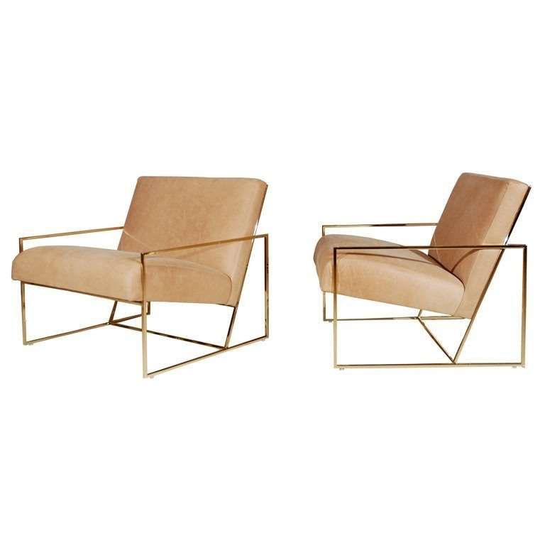 Delicieux Brass Thin Frame Chairs 1