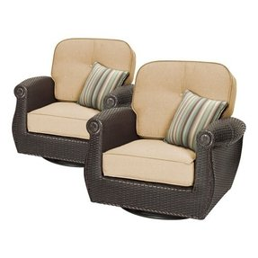 Breckenridge 3 Piece Patio Furniture Set 2 Swivel Rockers Natural Tan And Side
