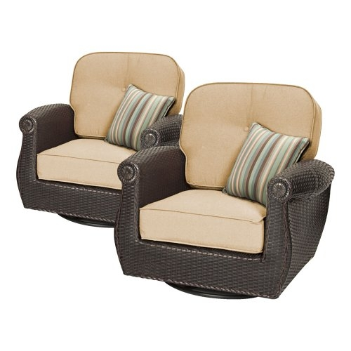 Breckenridge 3 Piece Patio Furniture Set 2 Swivel Rockers (Natural Tan) and Side  sc 1 st  Foter : swivel patio chairs - Cheerinfomania.Com