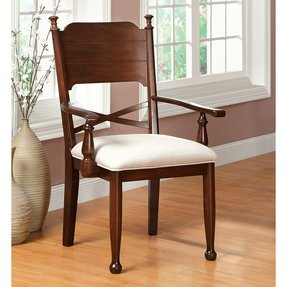 Descanso Old English Style Brown Cherry Finish Dining Armchair (Set of 2)