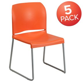 Flash Furniture HERCULES Series 880 lb Capacity Orange Full Back Contoured Stack Chair with Sled Base [RUT-238A-OR-GG]