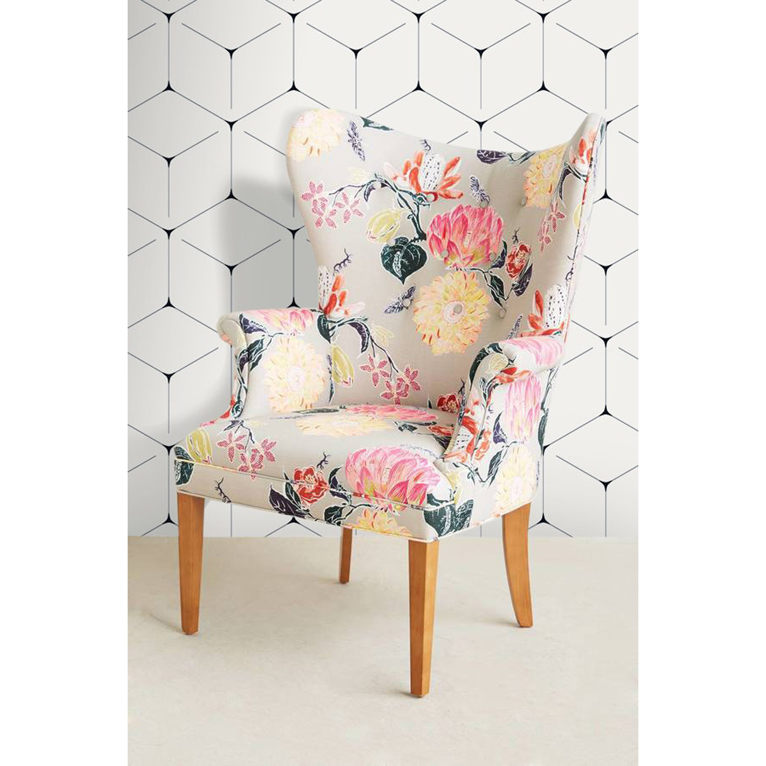 Unique Floral Accent Chair Design