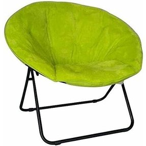Green Saucer Chair Features Sturdy, Aluminum Construction & Soft Faux Fur Upholstery. Folds Up Easily To Store. Lounge, Study, Read, Watch TV On This Convenient, Space-Saving, Folding Chair - The Perfect, Stylish, Convenient Addition To Your Home!