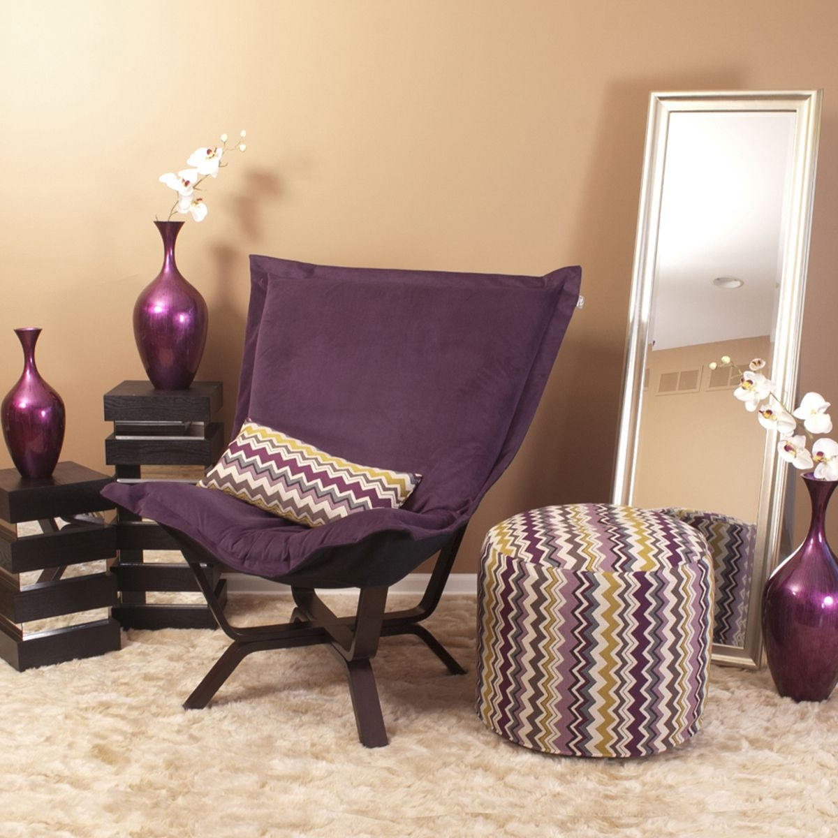 Howard Elliott 540 223 Milan Bella Puff Chair, Eggplant