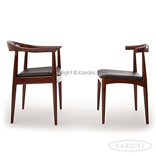Etonnant Kardiel Wegner Style Elbow Dining Chair, Black Italian Leather/Ash Wood In  Walnut Stain