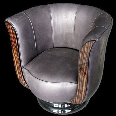 Superbe Leather Tub Chair Swivel