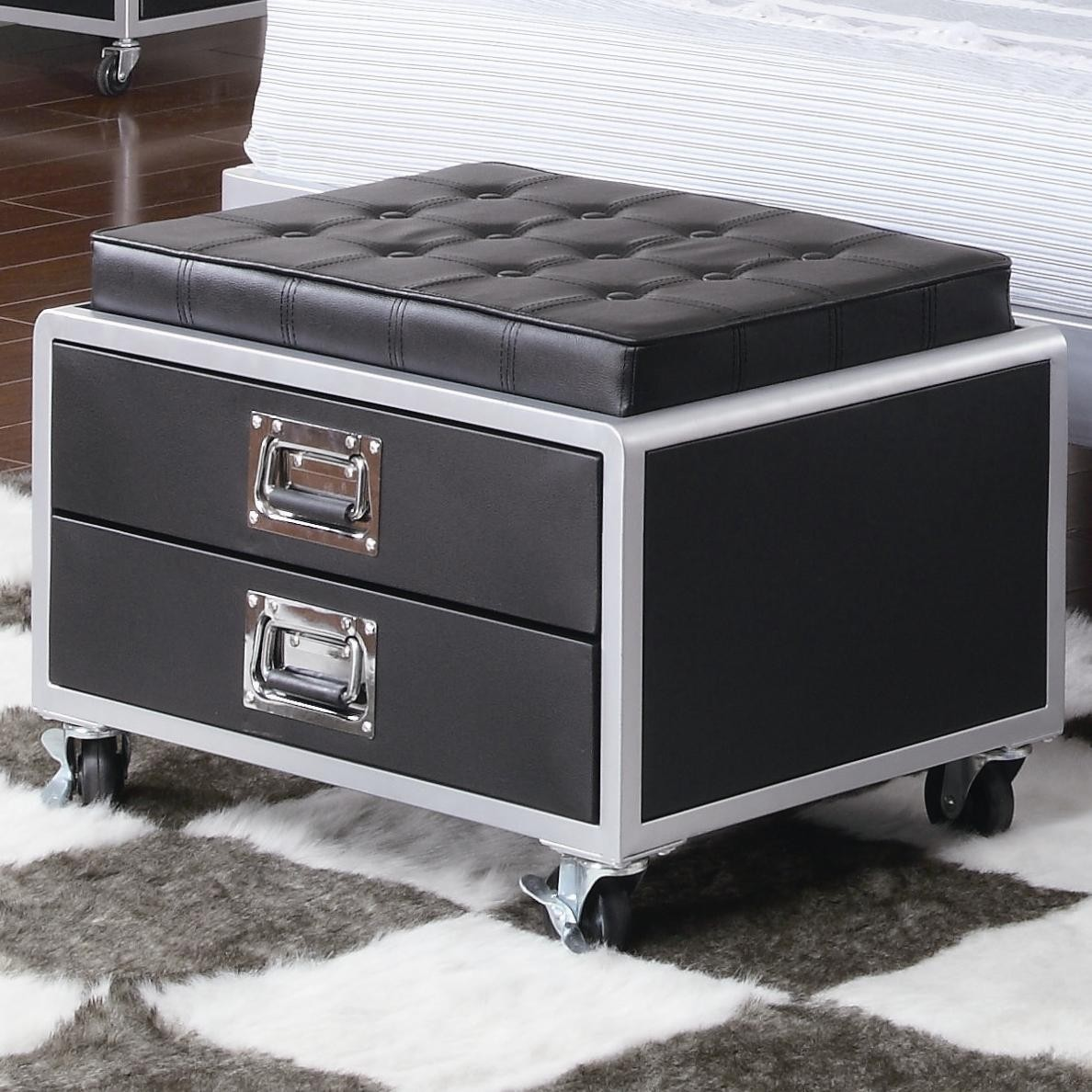 LeClair Contemporary Black Metal Rolling Storage Chair - coaster 460288 & Ottomans With Wheels - Foter