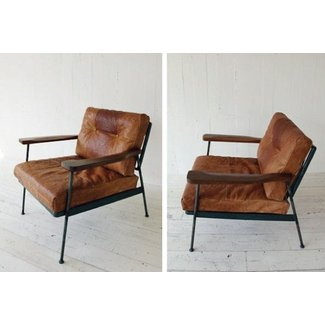 Metal and leather chair