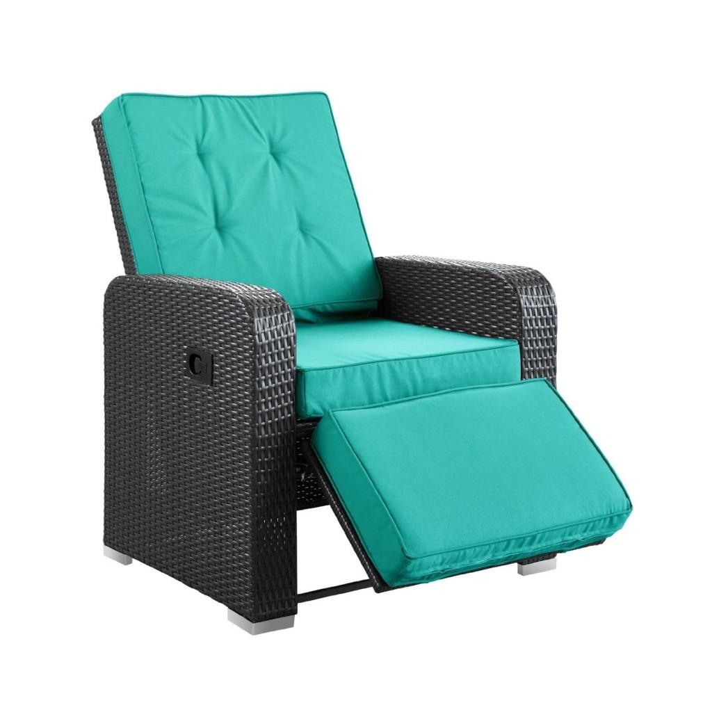 Modern Outdoor Patio Armchair Recliner Blue