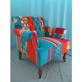 New unusual velvet cotton patchwork armchair 79cm 31 inches wide