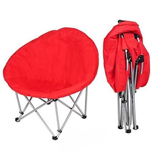 Oversize Folding Padded Moon Chair Red