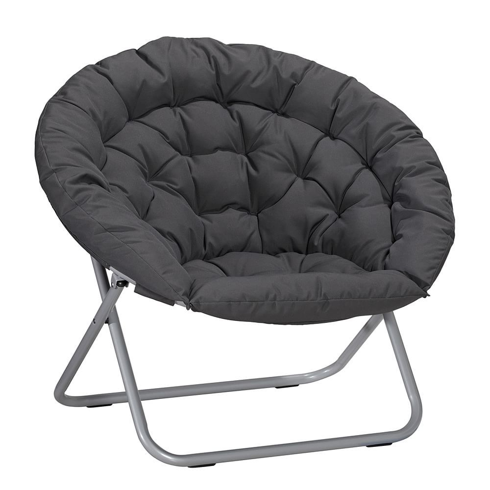Ordinaire Oversized Folding Moon Chair, Multiple Colors, Large, Round (Black)