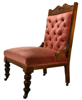 Pink Upholstered Salon Chair on Castors, Antique English, 19th Century
