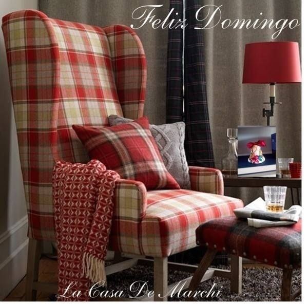 Black Wingback Chair. Red Leather Chairs. Plaid Chair