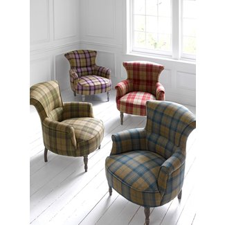 Plaid wingback chair