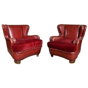 Red leather armchairs 5