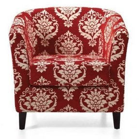 Red upholstered chairs