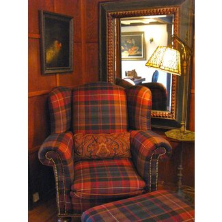 Tartan wing back chair