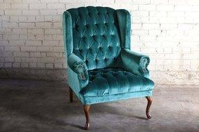 Teal Green Velvet Tufted Wingback Chair 1