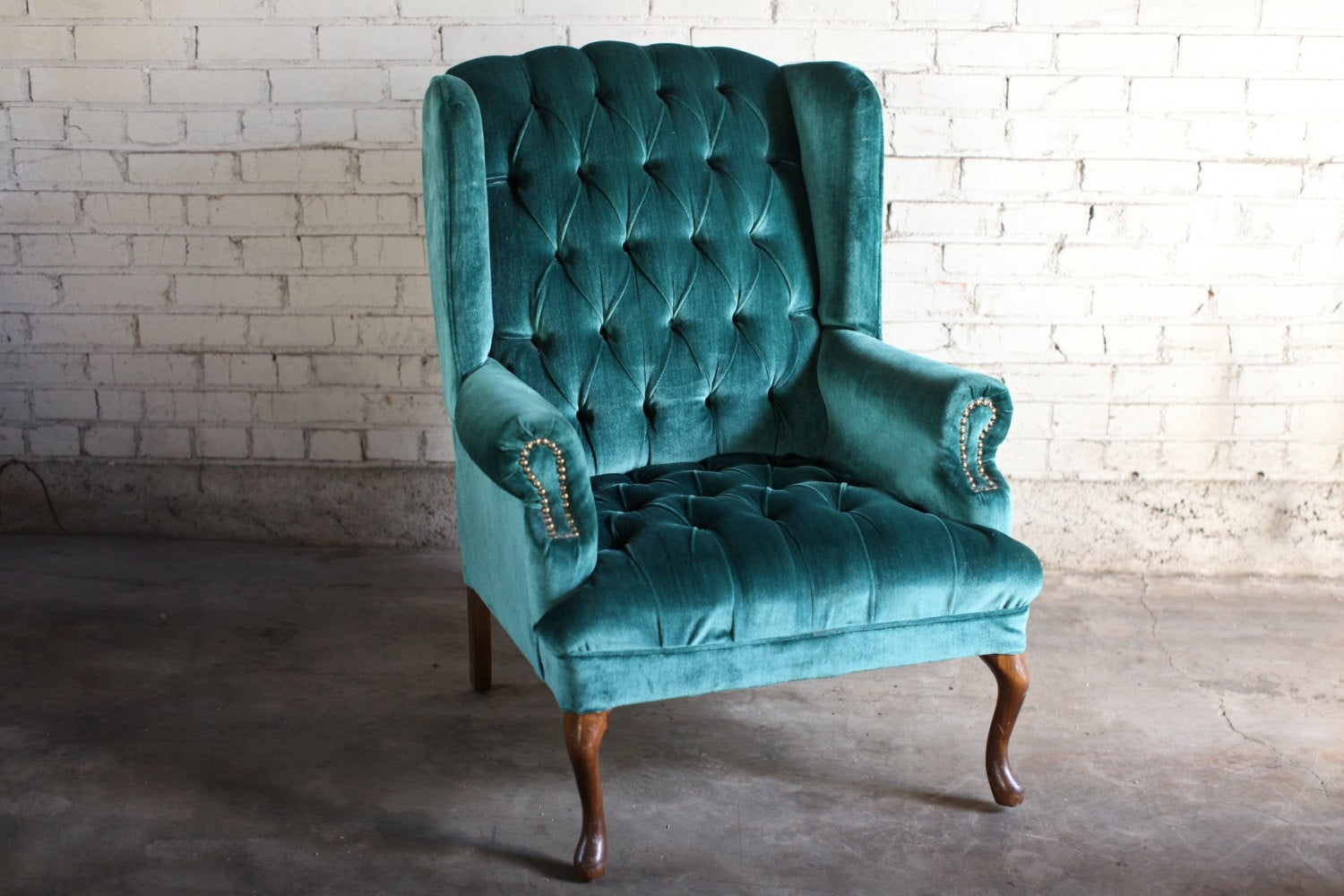 Teal Green Velvet Tufted Wingback Chair 1